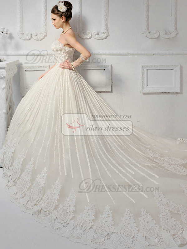 A-line Lace Tube Top Strapless Lace-up Sweep Sequin Wedding Dresses