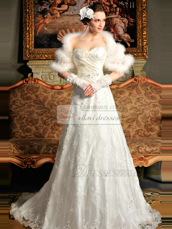 A-line Satin Strapless Sweetheart Lace-up Beading Wedding Dresses With Jacket