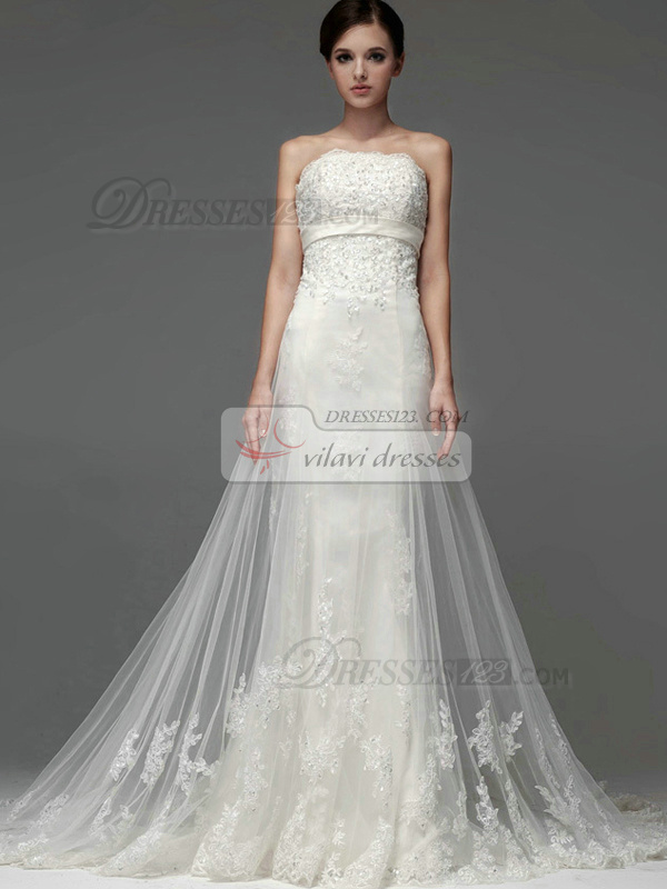 A-line Tulle Strapless Lace-up Appliques Sequin Wedding Dresses ...