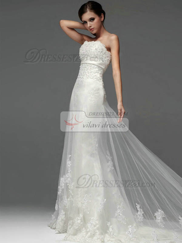 A Line Tulle Strapless Lace Up Liques Sequin Wedding Dresses