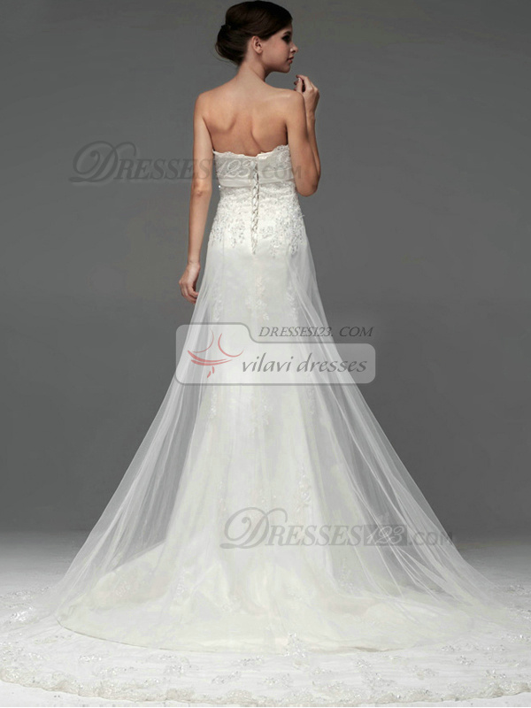 A-line Tulle Strapless Lace-up Appliques Sequin Wedding Dresses
