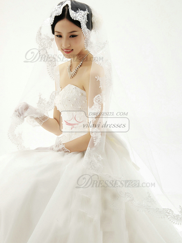 A-line Tulle Strapless Sweetheart Lace-up Bowknot Beading Wedding Dresses