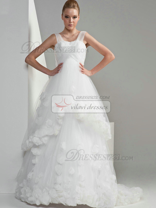 A-line Tulle Straps Lace-up Chapel Train Flower Wedding Dresses