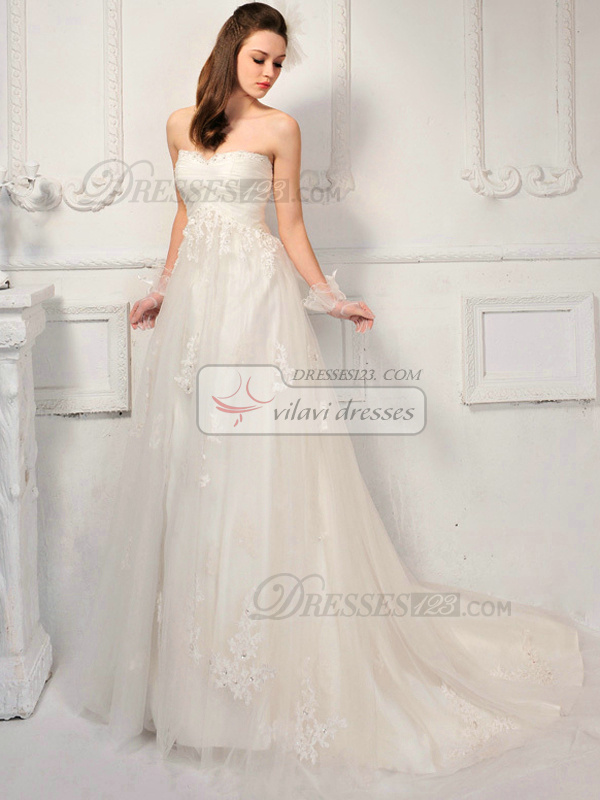 A-line Tulle Sweetheart Strapless Empire Appliques Bowknot Wedding Dresses