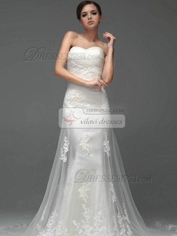A-line Tulle Sweetheart Strapless Lace-up Sequin Appliques Wedding Dresses