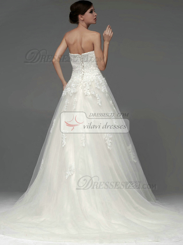 A-line Tulle Tube Top Strapless Lace-up Appliques Beading Wedding Dresses
