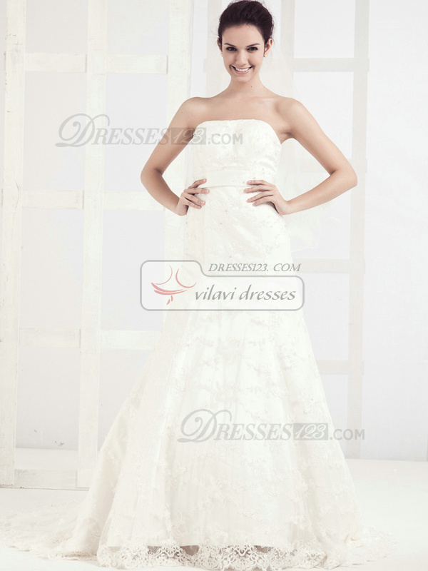 Appealing A-line Lace Tube Top Chapel Train Wedding Dresses