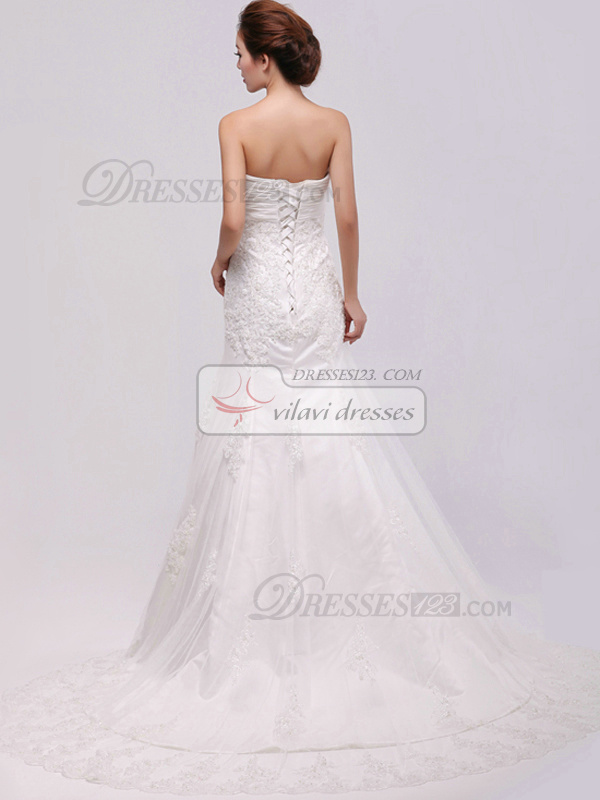 Appealing Mermaid Lace Sweetheart Chapel Train Wedding Dresses