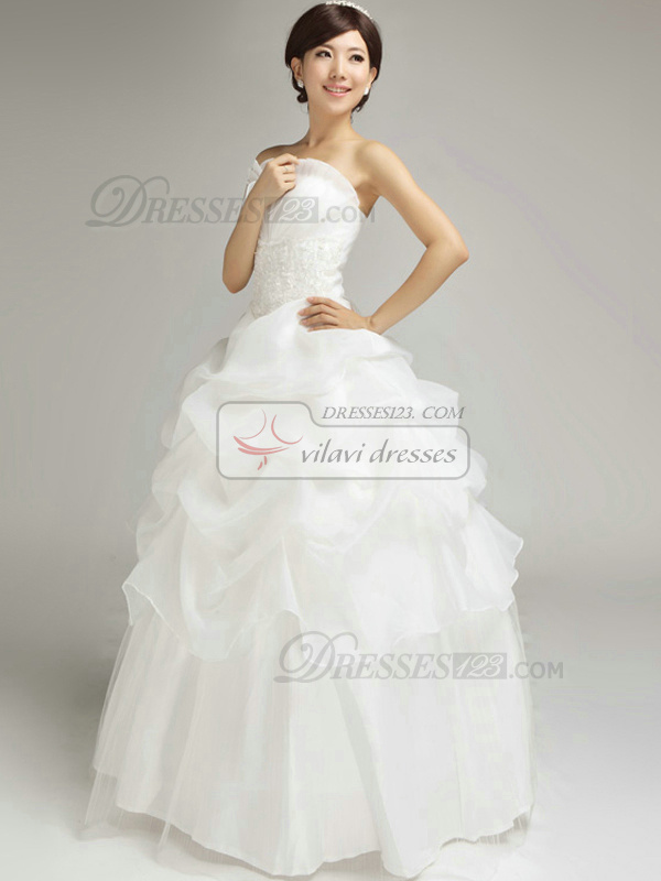 Appealing Princess Organza Scalloped-edge Floor-length Pick-Ups Wedding Dresses