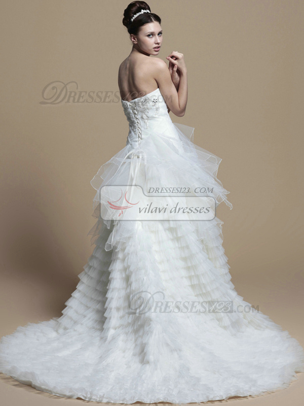 Appealing Princess Tulle Chapel Train Tiered Wedding Dresses