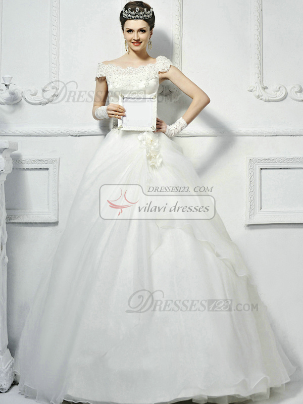 Ball Gown Organza Off the shoulder Lace-up Floor-length Appliques Beading Lace Wedding Dresses