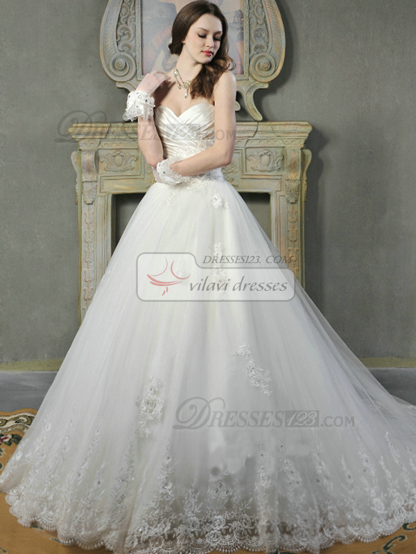 Ball Gown Satin Sweetheart Strapless Lace-up Appliques Beading Flower Wedding Dresses