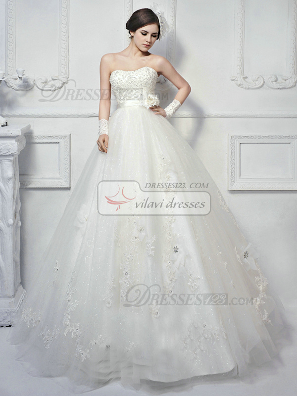 Ball Gown Tulle Strapless Lace-up Floor-length Flower Beading Appliques Wedding Dresses