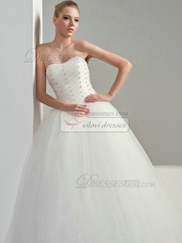 Ball Gown Tulle Sweetheart Strapless Lace-up Floor-length Beading Wedding Dresses