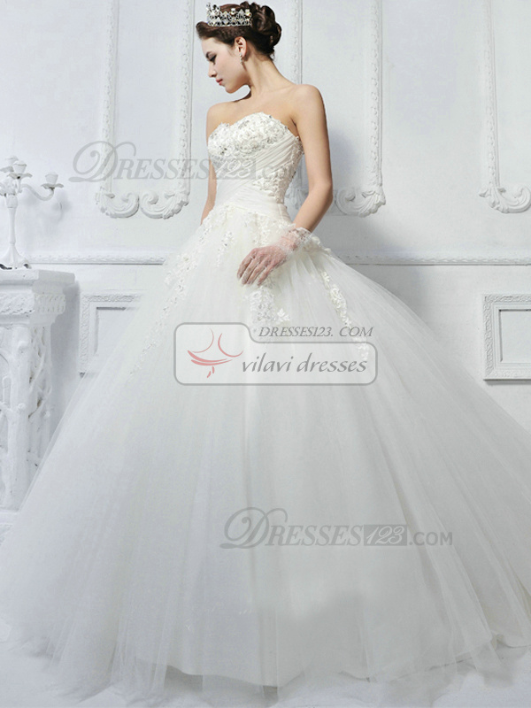 Ball Gown Tulle Sweetheart Strapless Lace Up Sweep Liques Beading Wedding Dresses