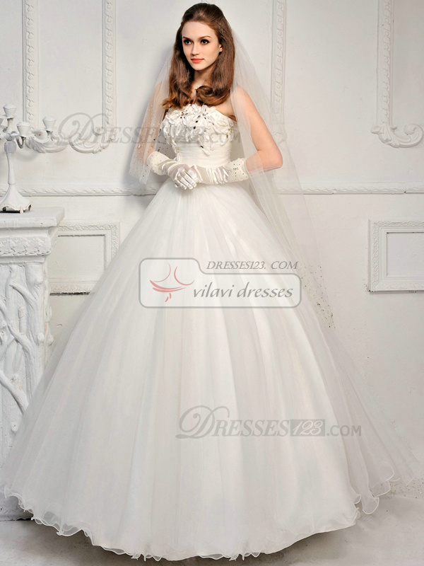 Ball Gown Tulle Tube Top Strapless Lace-up Floor-length Crystal Wedding Dresses