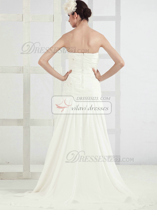 Beautiful A-line Chiffon Tube Top Sweep Wedding Dresses