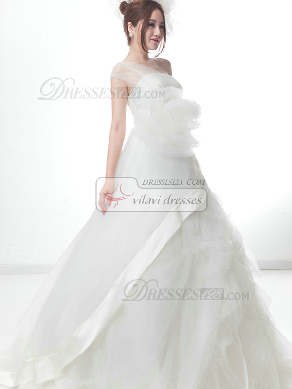 Beautiful A-Line One shoulder Flower Pick-Ups Wedding Dresses