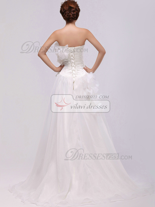 Beautiful A-Line Organza Sweep Flower Wedding Dresses