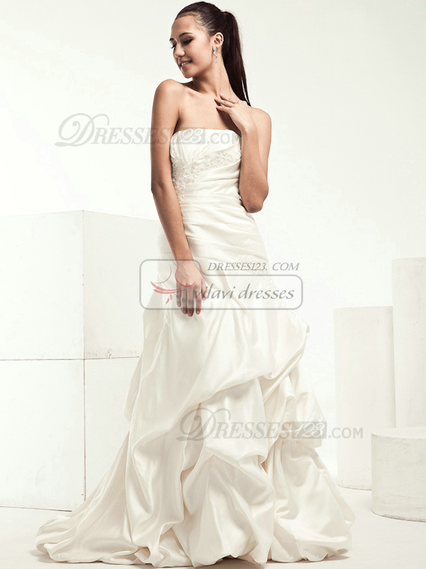 Beautiful A-line Taffeta Cathedral Train Pick-Ups Wedding Dresses
