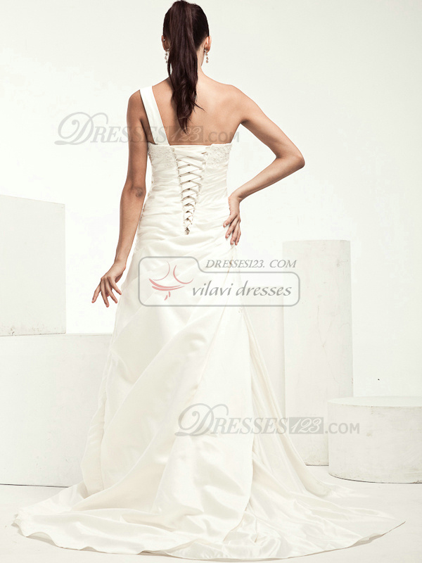 Beautiful A-line Taffeta One shoulder Side-draped Wedding Dresses