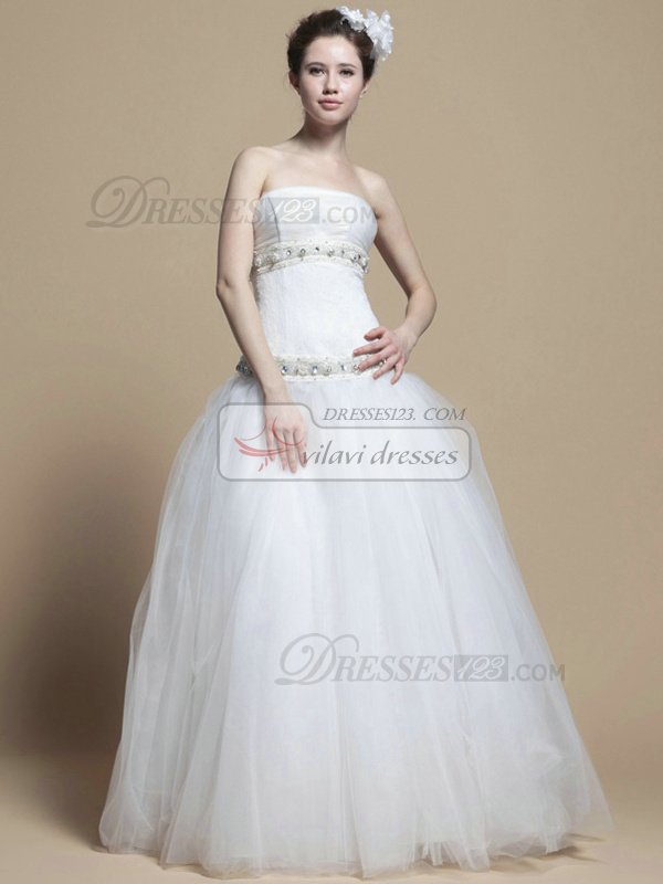Beautiful A-line Tube Top Floor-length Crystal Wedding Dresses