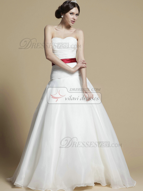 Beautiful A-line Tulle Floor-length Sashes Wedding Dresses