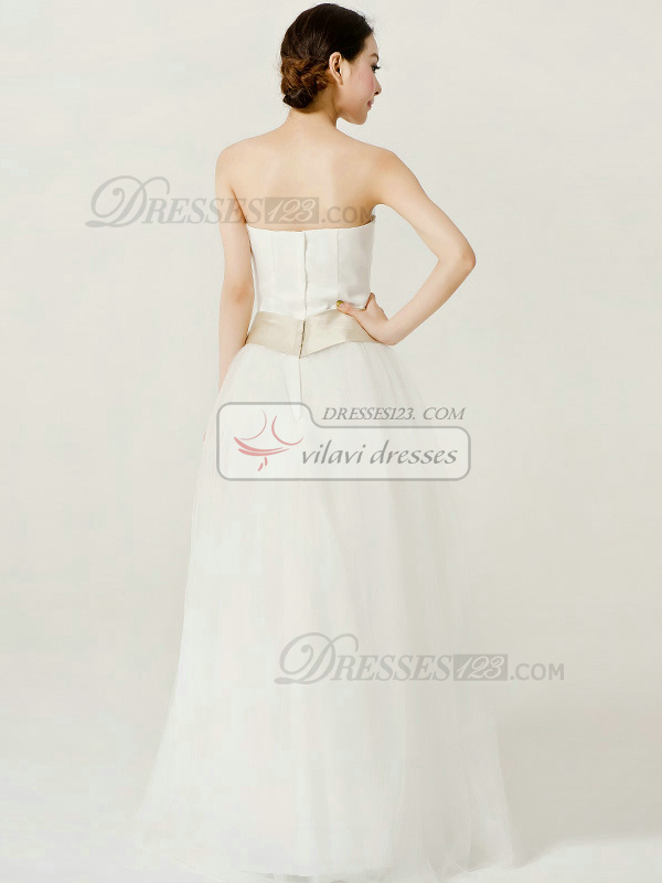 Beautiful A-Line Tulle Strapless Tube Top Floor-length Bowknot Wedding Dresses