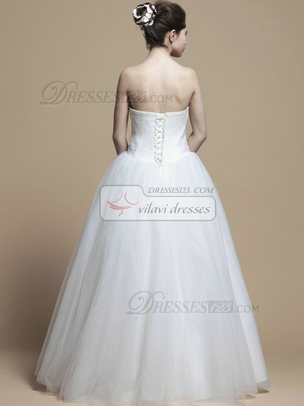 Beautiful Ball Gown Strapless Floor-length Draped Wedding Dresses