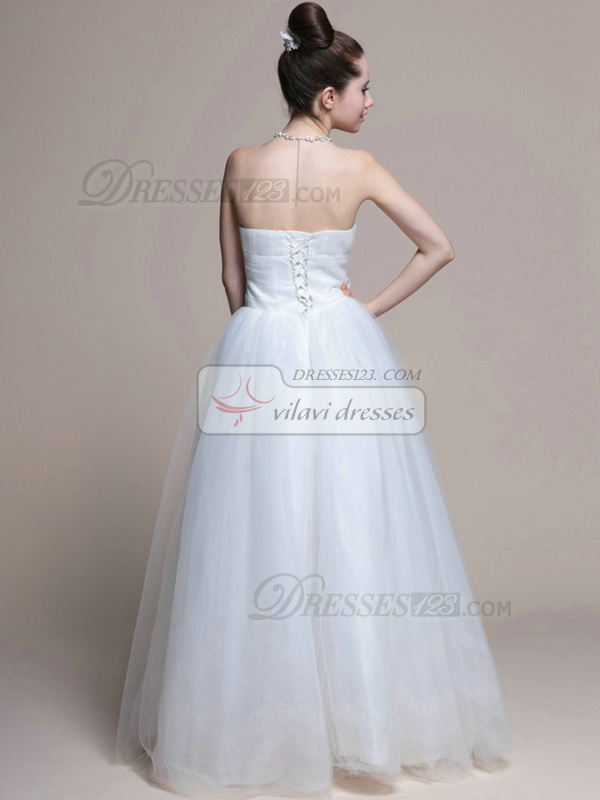 Beautiful Ball Gown Tulle Floor-length Drape Wedding Dresses