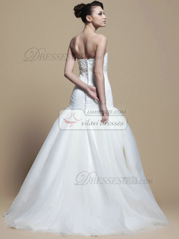 Beautiful Ball Gown Tulle Sweep Beading Wedding Dresses