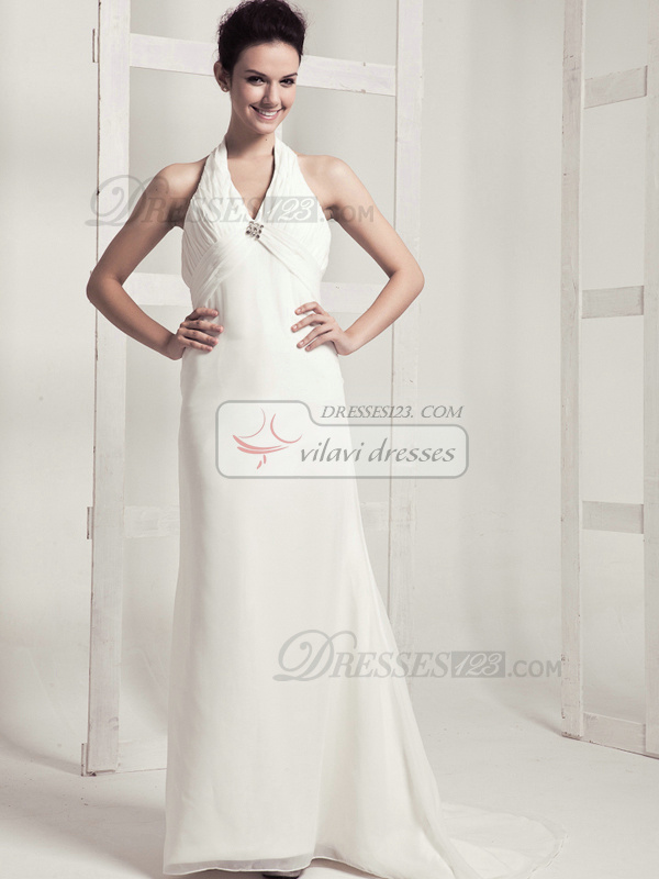 Beautiful Column Chiffon Halter Sweep Wedding Dresses