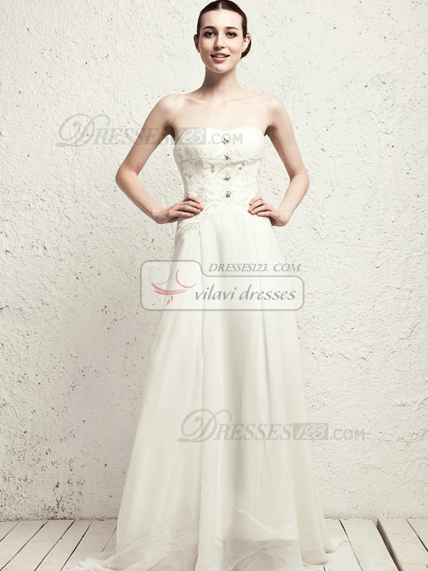 Beautiful Column Chiffon Sweep Appliques Wedding Dresses