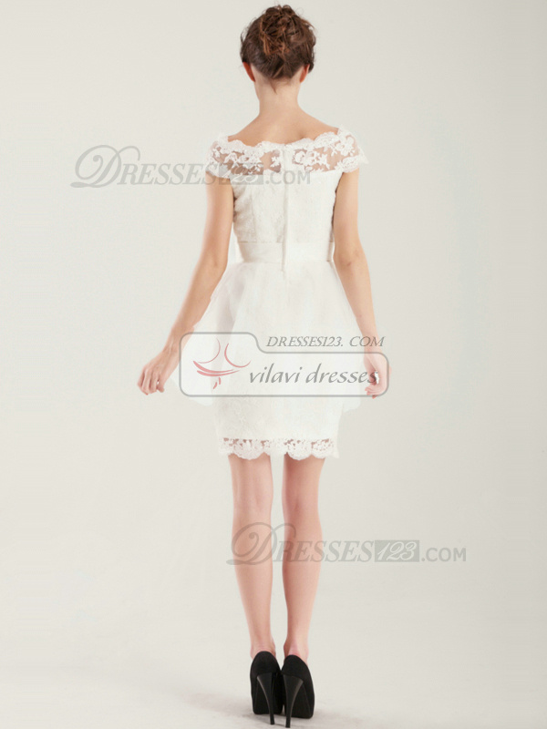 Brilliant Sheath Scalloped-edge Short Lace Wedding Dress