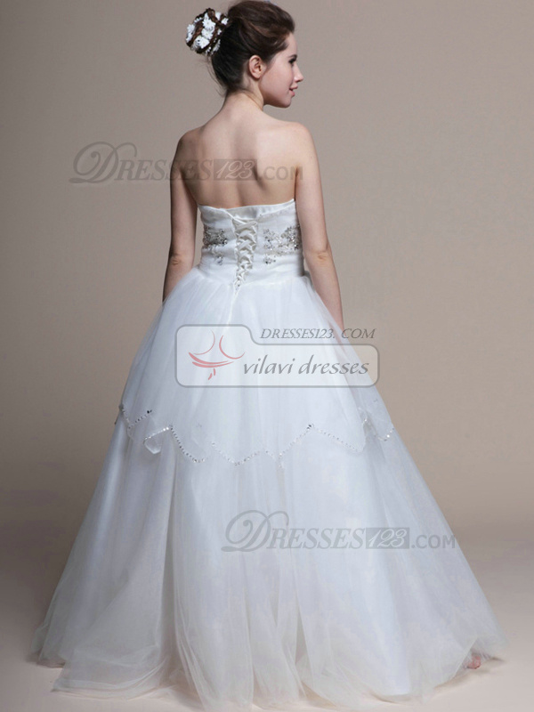 Elegant Ball Gown Tulle Floor-length Beading Wedding Dresses