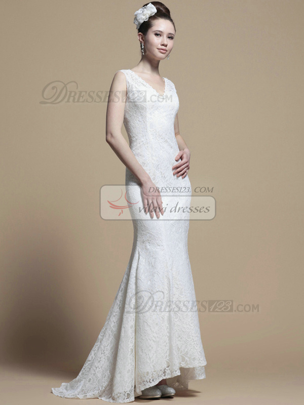 Elegant Mermaid Lace V-neck Sweep Wedding Dresses