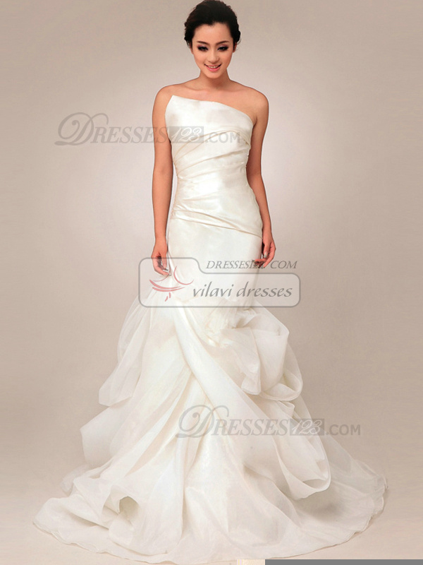 Elegant Mermaid Organza Asymmetrical Collar Pick-Ups Wedding Dresses
