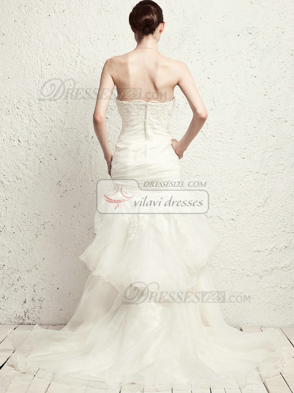 Elegant Mermaid Organza Strapless Pick-Ups Wedding Dresses