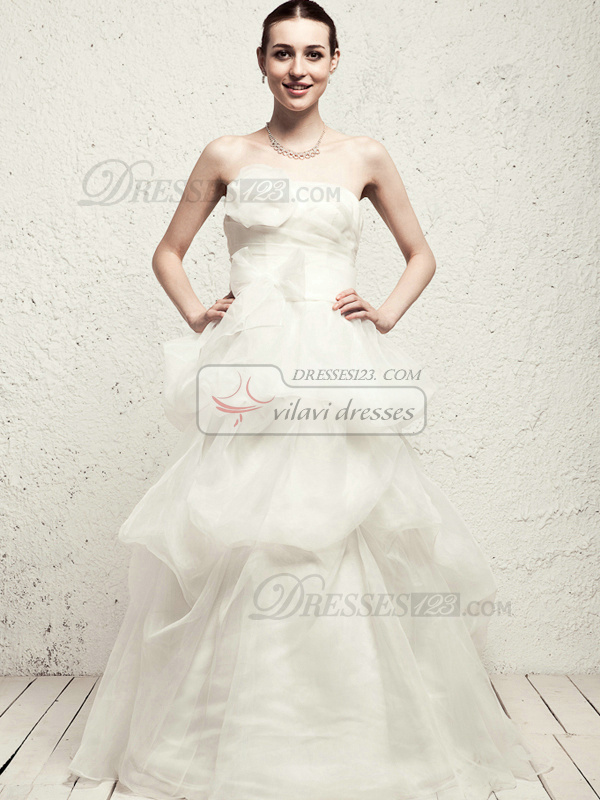 Elegant Princess Organza Floor-length Flower Wedding Dresses