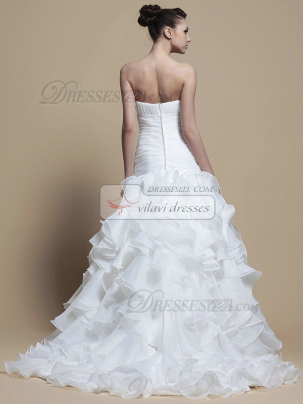 Elegant Princess Organza Tube Top Cascading Ruffle Wedding Dresses