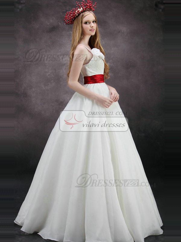 Fantasy A-Line One shoulder Sweetheart Floor-length Tulle Flower Sashes Wedding Dresses