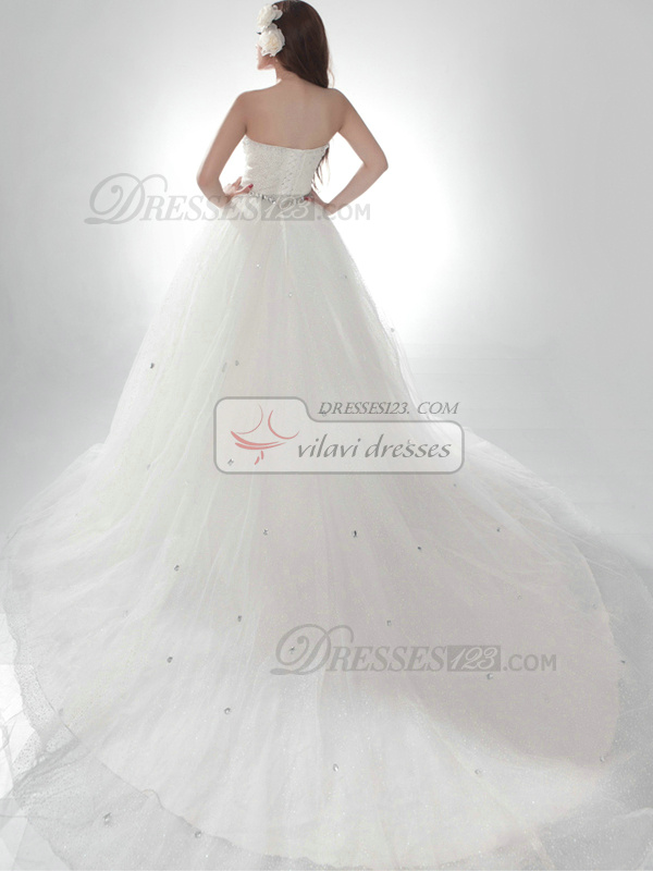 Fantasy Ball Gown Strapless Cathedral Train Crystal Wedding Dresses