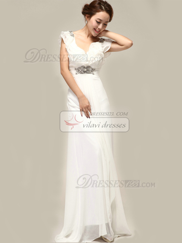 Fantasy Column Chiffon Straps Beading Wedding Dresses