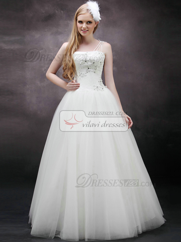 Glamorous A-Line One shoulder Floor-length Tulle Beading Wedding Dresses