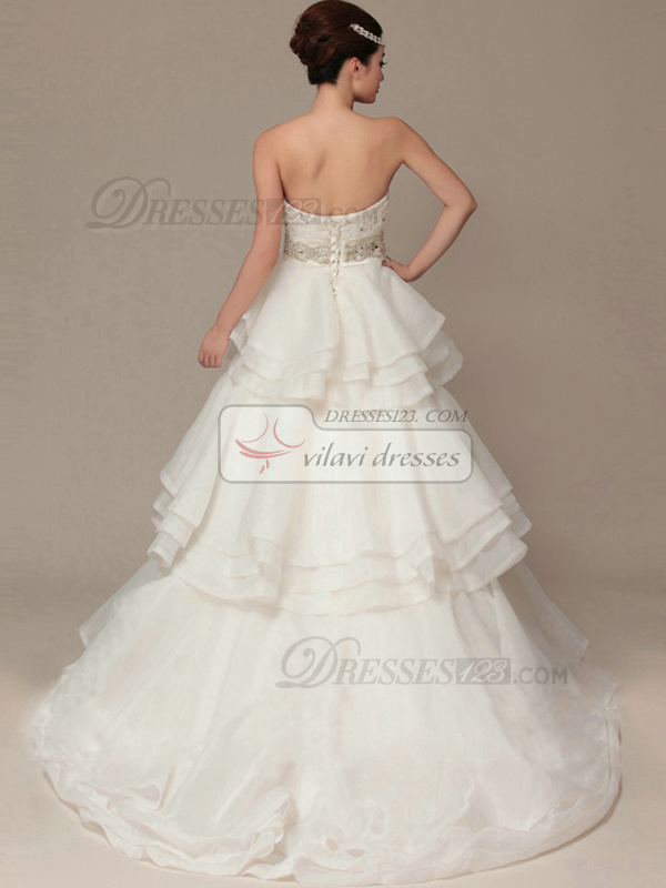 Glamorous A-Line Organza Sweep Tiered Wedding Dresses