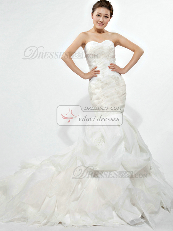 Glamorous Mermaid Organza Chapel Train Cascading Ruffle Wedding Dresses