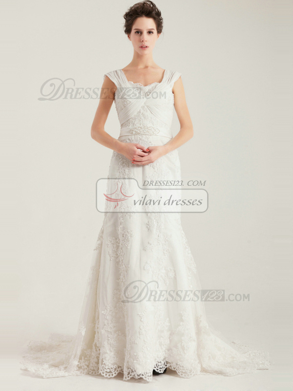 Glamorous Mermaid Sashes Lace Court Train Wedding Dress
