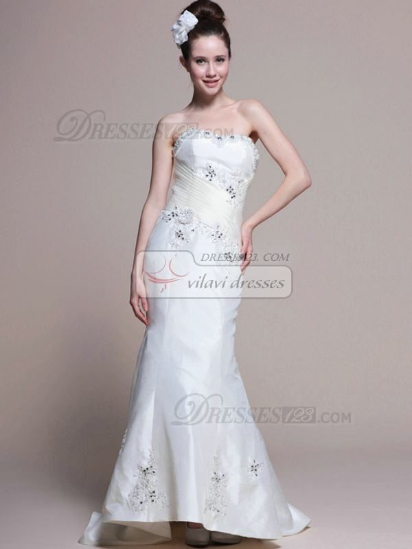 Glamorous Mermaid Stretch Satin Chapel Train Rhinestone Wedding Dresses