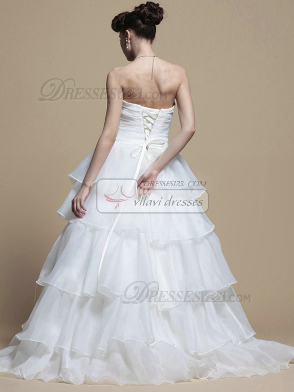 Glamorous Princess Organza Sweep Tiered Wedding Dresses