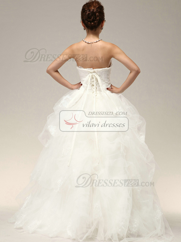 Glamorous Princess Tulle Flower Cascading Ruffle Wedding Dresses